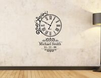 Personalised Kids Date of birth name and time wall art  decal sticker clock