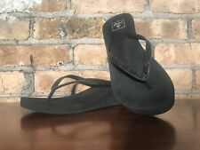 REEF Black Glitter Thong Wedge Sandal Sz8