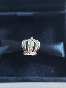 RARE Pandora Royal Crown 14K Gold 18 Diamonds Charm 750453D