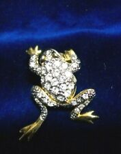 Hips/Frog Pin Cute/Gold Plated/Crystal/1.5 Inch/Swivel