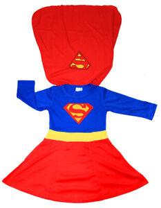 NEW SIZE 2-12 KIDS CHILDREN SUPERHERO SUPERGIRL PARTY COSTUMES GIRLS TODDLER