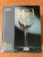 Box Of Vintage Libbey Special Edition 10oz Crystal Stemware Etched Wine Goblets