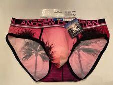 """""""Andrew Christian"""" Size """"XL"""" California Sunset Mesh Brief - Pink/Black/White"""