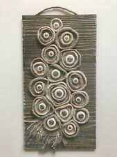 "Handmade free form crochet,silver buttons on wood base 13"" x 7"", Wall Art Decor"