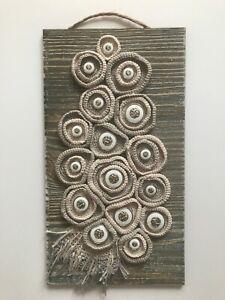 "Handmade free form crochet,silver buttons on wood base 13"" x 7"", Wall Art Decor"