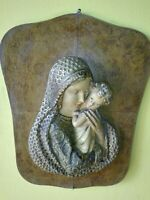 Quadro madonna con bambino gesso antico vintage legno