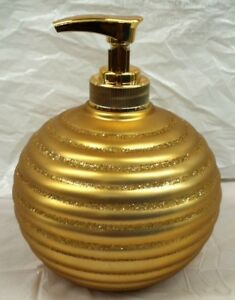 New Anna's Linen Gold Glittery Soap Dispenser / Lotion dispenser Holiday Gift