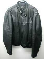 Vintage 80's Sears The Men's Store Black 100% Leather Motorcycle Jacket size 46
