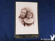 Rood Spencer Iowa Antique Cabinet Card Portrait 2 Young Girls BEAUTIFUL!