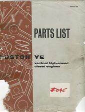 Ruston YE  4, 5 & 6 cylinder engines parts list 9276 rev 6