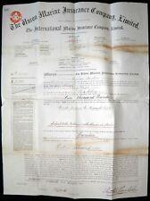 1894 Sir J A. Chamberlain UNION MARINE INSURANCE Policy, Rio -Newcastle, N.S.W.