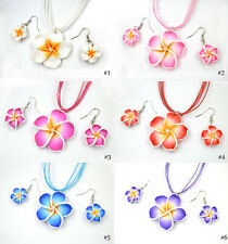 FREE 1pcs or Wholesale polymer clay FIMO flower Silk chain necklace+earrin​gs