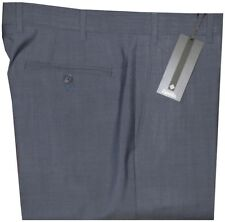$395 NEW ZANELLA DEVON SOLID BLUE-GRAY SUPER 130'S MADE IN ITALY DRESS PANTS 42