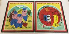 2 VINTAGE PLAYSKOOL MAGNETIC INLAID PLASTIC PUZZLES PUMPKIN EATER 3 LITTLE PIGS