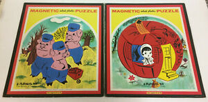 2 VINTAGE PLAYSKOOL MAGNETIC INLAID PLASTIC PUZZLES PUMPKIN EATER 3 LITTLE PIGS
