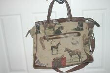 Oleg Cassini Horse Equestrian Design Tapestry Travel Overnight Bag