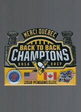 2018 Pittsburgh Penguins ''Stanley Cup Champions'' Quebec PeeWee Hockey BIG pin