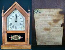 Antique Mantel Clock cathedral wood Seth Thomas vintage reverse painted Works