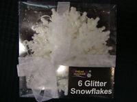 6 x White Snowflake Glitter christmas Tree Hanging Decorations FREE P&P