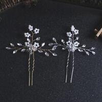 Bride Bridesmaid Flower Girls Pearl Crystal Hair Pin Gold Silver Wedding New VBU