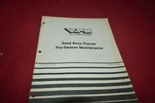 White Tractor Seed Boss Planter Pre-Season Maintenance Operator's Manual TBPA