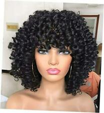 Curly Afro Wig with Bangs Short Kinky Curly Wigs for Black Women black