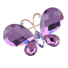 Elegant Purple Butterfly Rhinestone Crystal Broach Brooch Pin Jewelry Party Gift