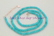 """Beautiful 2x4mm Faceted Blue Aquamarine Gemstone Necklace 18"""" 925 Silver button"""