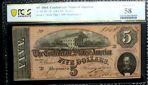 1864 $5 Confederate States CSA T-69 PCGS 58 ALMOST UNC   PF-16   DARKER RED