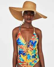 80a2cb39aa871 ZARA Yellow Tropical Printed Swimsuit with Metal Eyelets   Tie Front L BNWT