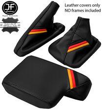 BLACK LEATHER GERMAN STRIPES GEAR HANDBRAKE ARMREST COVER FOR BMW E46 99-05