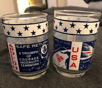 Two (2) NASA Apollo 13, Vintage Glass Drinking Cups