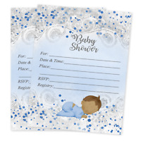 Boy Baby Shower Invitations Blue and Gray Party Invites Supplies Decor Qty 20