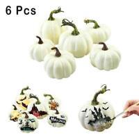 6Pcs Halloween Artificial White Pumpkins Harvest Fall Thanksgiving Decor Craft