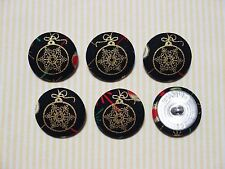 6 Black with Gold Christmas Ball Ornament Fabric Covered Buttons - 30mm