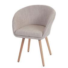 Chaise de salle à manger Malmö T633, fauteuil, design rétro ~ tissu, crème/gris