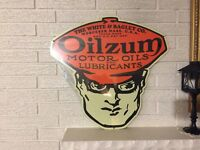 """Oilzum Oils and Lubricants Gas Station Sign Logo Heavy Steel Sign New 23"""" x 24"""""""