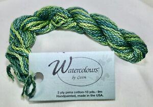 Caron Watercolour 3 ply pima cotton 10 yds handpainted 066 Jade green