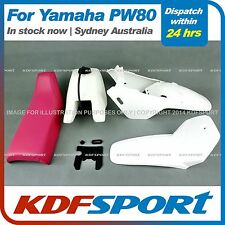 KDF FOR YAMAHAX PW80 PY80 PLASTIC FENDER COVER + TANK  (WHITE) + SEAT (PINK)