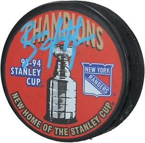 Brian Leetch New York Rangers Signed 1994 Stanley Cup Champions Logo Hockey Puck
