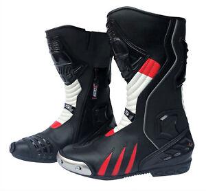Motorradstiefel hochwertige XLS Racing Boots Touringstiefel schwarz rot weiß 46