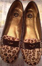 NewBoxedYELLOW BOX Womens 6M IZZY Cheeta Print Leather Upper SlipOn Loafer Shoes