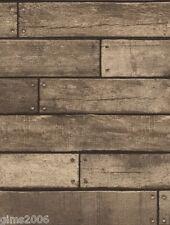 Marrone Metallizzato In Legno Asse Carta Da Parati 31289