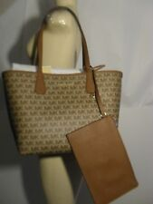 Michael Kors Candy Large Reversible Tote Luggage Signature Khaki Pouch Wallet MK