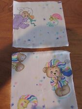 """lot of 20 quilt squares pink/blue teddy bears moon 6x6"""" cotton fabric"""