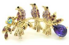 New Gold Tone Austrian Crystal Purple CZ Triple Sparrow Bird Brooch in Gift Box