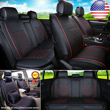 US M Size 5-Seats Sedan SUV Black/Red PU Leather Seat Cover Front+Rear +4pc Gift