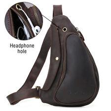 Retro Men Leather Chest Bag Backpack Crossbody Pack Sport Cycling Shoulder Bag