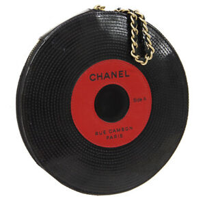 CHANEL Record Motif Chain Clutch Bag 8946317 Black Red Patent Leather AK33252i