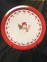 "Holiday Moments Snowman Christmas Metal Tin 12.5"" Serving Tray"